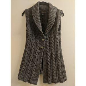 Eddie Bauer Gray Long Sweater Vest 2 Button Wool